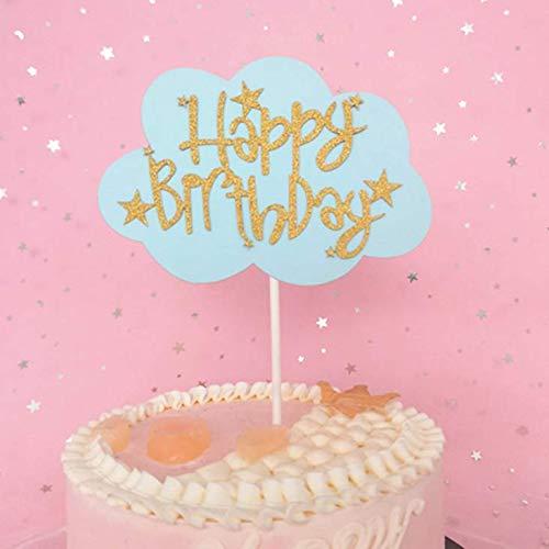 Creative Birthday Cake Card Pink English Cloud Happy Birthday Plug-In Romantic Beautiful Baking Decoration Flag Blue Bottom Gold Word Cloud 20