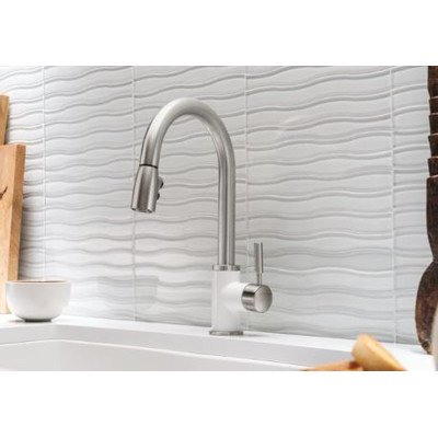Blanco 442061 Sonoma 1.5 Bar Sink Faucet, White/Stainless Dual Finish