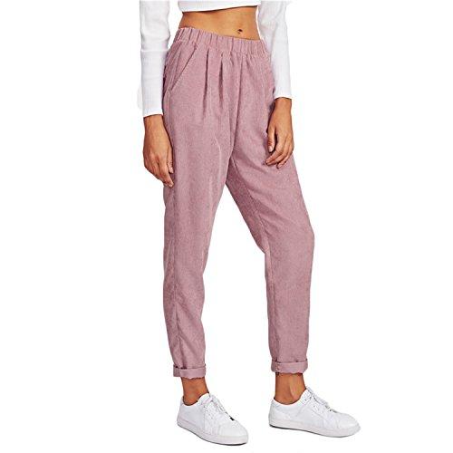 Flap Pocket Trousers - LLcamc Pink Faux Flap Pocket Back Cord Peg Pants Mid Waist Fall Womens Casual Pants Elastic Waist Loose Trousers