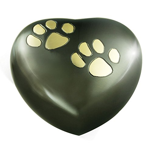 Golden-Claw-Heart-Model-Pet-Keepsake-Urns-for-Dogs-Ashes-or-Cat-Memorial-Cremation-Urns-for-Pet-Ashes-Hand-Made-in-Brass-and-Exquisite-Hand-Enameled-Funeral-for-Burial-Urns-Paw-Heart-Black