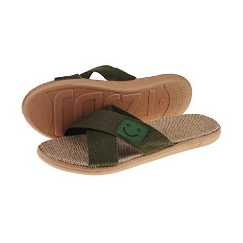 Flax Slippers Linen Army Green Mules Women Footwear Cute Smile Summer skid Flat Flops Sandals Men Flip Anti Beach BqE7X