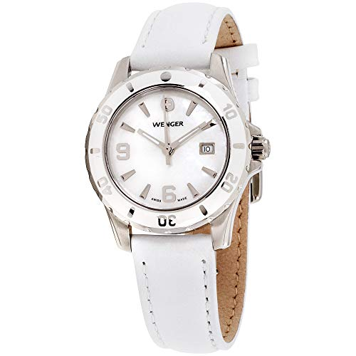 (Wenger Women's 70382 Sport Mother-of-Pearl Dial White Leather Watch)