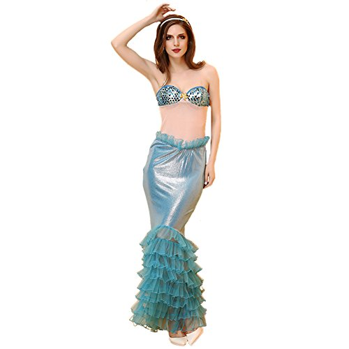 [BADI NA Blue Womens Sexy Maxi Sequins Mermaid Prom Club Dresses Fishtail Skir...] (Sea Siren Sexy Costumes)