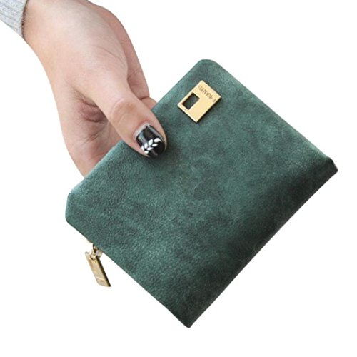 DZT1968® Women's Girl's Frosted Leather Short Cute Card Holder Change Money Wallet (Army Green)