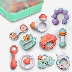 GizmoVine Jouets Hochets pour Bébés Ensemble de Hochet à Clochettes Jouets d'Eveil avec Boîte de Rangement sans BPA pour…