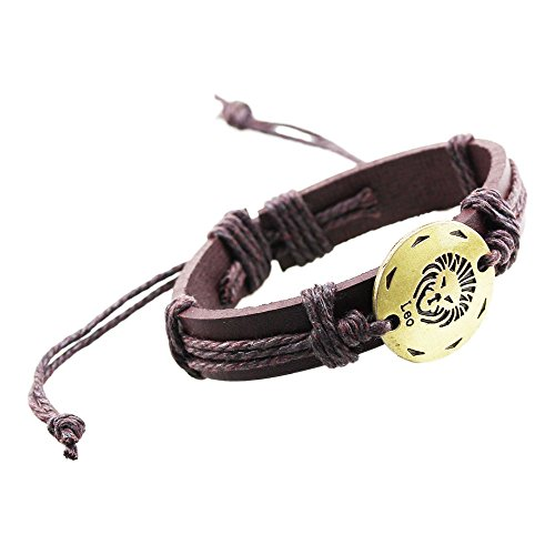 - FOY-MALL The Signs of The Zodiac Leo Charm Adjustable Leather Bracelet E1419
