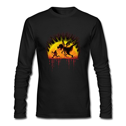 T-shirt Fire Dragon Breathing (Hillet Men's How Not To Train Your Fire Breathing Dragon Long Sleeves Cotton Graphic T-Shirt Size L Black)