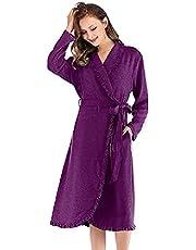 Sleepwear, robe, mauve, cotton - for women