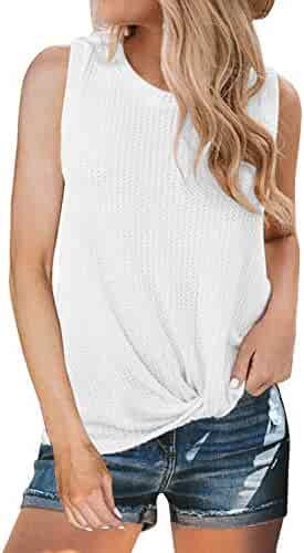 MIHOLL Womens Casual Tops Sleeveless Cute Twist Knot Waffle Knit Shirts Tank Tops