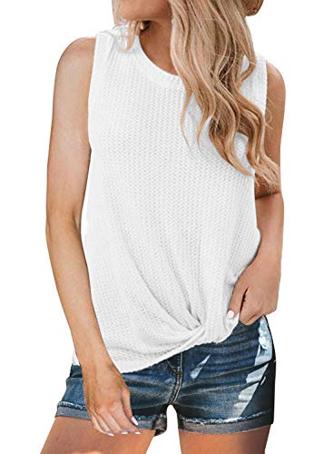 (MIHOLL Womens Casual Tops Sleeveless Waffle Knit Shirts Twist Knot Front Loose Blouse Tank Tops (Large, White) )