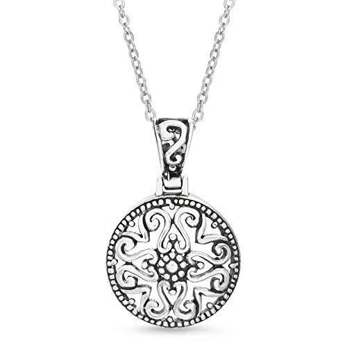 Willowbird Women's Filigree Disc Pendant In Oxidized Sterling Silver