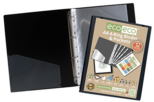 4 x eco-eco A4 65% Recycled Strong Black Presentation Ring Binder + 12 Free ()
