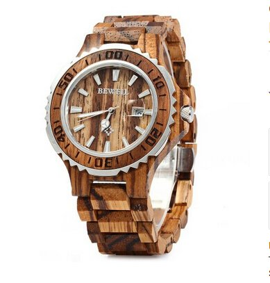Bewell W086B Wood Men Watch Analog Quartz Movement Date Display