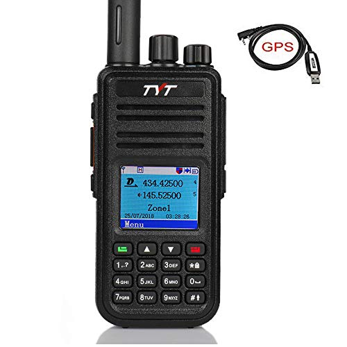 TYT MD-UV380 Dual Band Dual Time Slot DMR with GPS, VHF/UHF Portable Handheld Radio with 3000 Channels 100000 Contacts, with Free Programming Cable & Acoustic Tube Earpiece, 2019 New Version (Best Hunting Gps 2019)