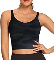 REKITA Womens Longline Sports Bra with Removable Pads Workout Crop top Yoga Tank Tops