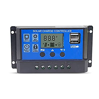 Binen 12V/24V Solar Charge Controller 10A Charge Regulator Intelligent, USB Port, LCD Display Overload Protection