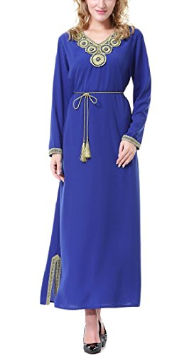 Fieer Womens Long Sleeve Fall Muslim Spring Wedding Long Dresses Blue M