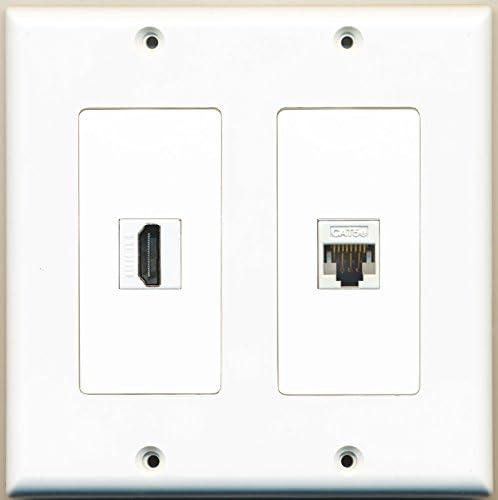 RiteAV 1 Port HDMI 1 Port Cat5e Ethernet White Dual Gang Wall Plate