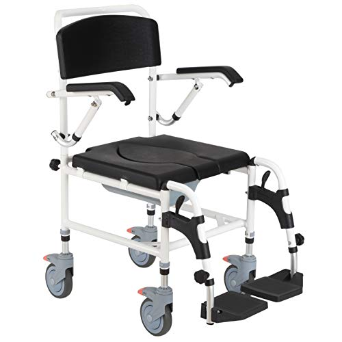 Personal Mobility Assist Shower Commode Wheelchair Medical Transport Rolling Chair Waterproof
