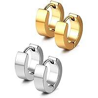 JewelrieShop Men Jewelry Set Huggie Hinged Hoop Dangle Earrings, Stainless Steel, Hypoallergenic, Urban Hoop Earrings