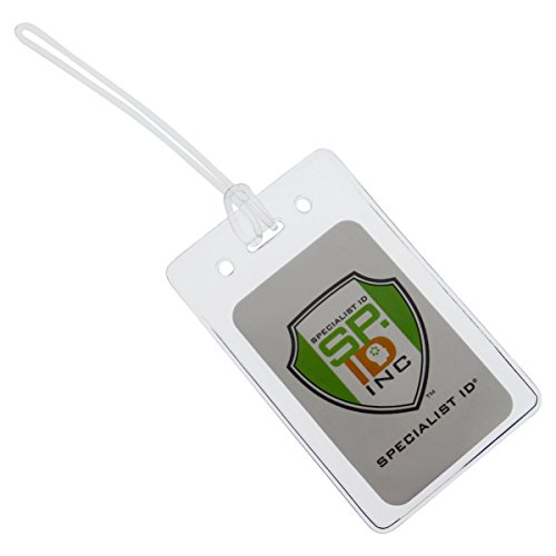 25 Pack - LOCKING TOP Clear Plastic Luggage Identification Tags with Loops Included - Business Card or Photo Insert Bag Tags - Great for Travel and Student ID's by Specialist ID