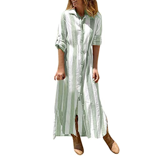 Women Vintage Blouse Dress Fahsion Striped Print Button Long Sleeve Lapel Beach Long Maxi Dress Green