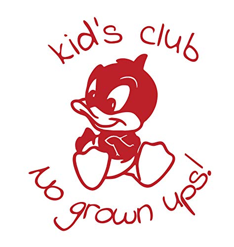 BellaCross Unofficial Baby Looney Tunes Wall Decal: Kid Club No Grown Ups - Made in The USA from Vinyl! This is One of Our Most Popular Kid's Wall Decals! - RED