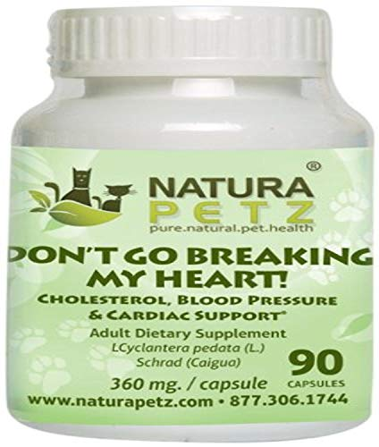Natura Petz Don't Go Breaking My Heart Cholesterol, Blood Pressure and Cardiac Support for Pets, 90 Capsules, 360mg Per Capsule
