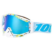 100% Unisex-Adult Hyperloop Racecraft MX Motocross Goggles With Mirrored Lens (Light Blue/Red,One Size Fits Most)