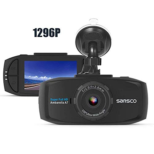 (SANSCO PRO Car Dash Camera, 2K 1296P 50% Higher Resolution Than 1080p, HD Dashboard Camera for Cars with Excellent Day/Night Vision, Collision Detection and Smart Emergency)