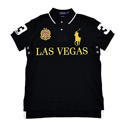 Polo Ralph Lauren Mens Custom Slim Fit Mesh City Polo Shirt (Large) (Polo Ralph Lauren Striped Knit Dress Shirt)