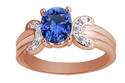 (AFFY 6x8 mm Simulated Oval Blue Sapphire & Pink Tourmaline Solitaire Ring in 14k Rose Gold Over Sterling Silver Ring Size - 7)