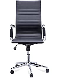 coz high back black ribbed swivel home office chair task chair desk - Task Chairs