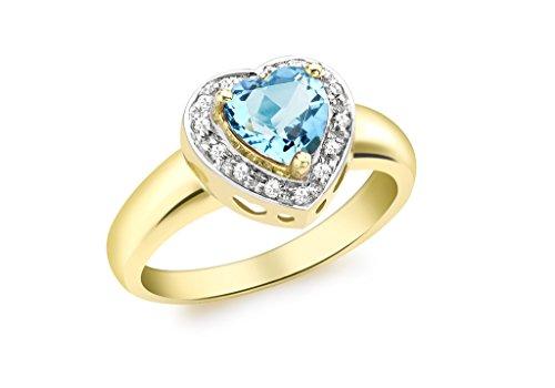9ct or jaune Diamant et topaze bleue Bague en forme de cœur
