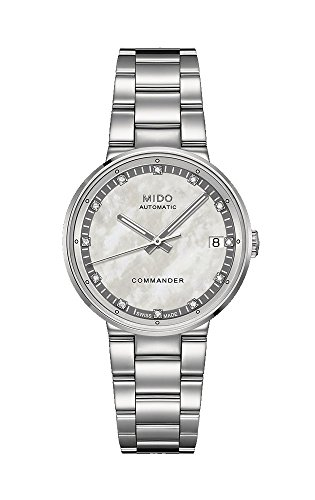Mido M0142071111600 Commander II Ladies Watch M014.207.11.116.00 Silver Dial Stainless Steel Case Automatic Movement