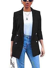Romose Women's Blazer Long Sleeve Suit Jacket Solid Color Blazer Business Slim Fit Bolero Jacket Suit Trench Coat Cardigan