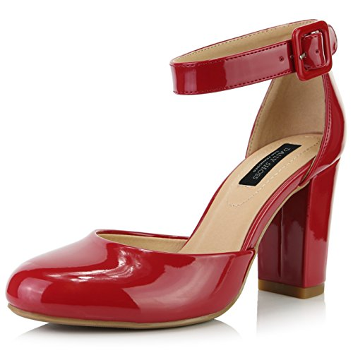 - DailyShoes Women's Chunky Heel Round Toe Ankle Strap Pumps Shoes, Red Patent Leather, 10 B(M) US