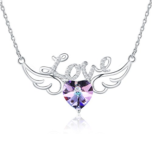 Heart Angel Figure (Angel Wing Necklace with Heart Shape Pendant from Swarovski Crystals of Sterling Silver and Natural Amethyst Gifts for Women and Girls)