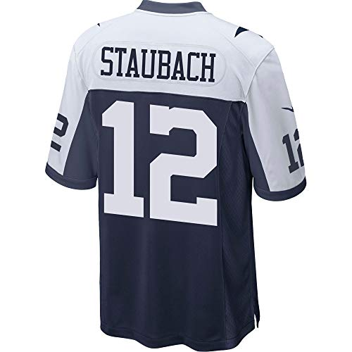 NFL Mens Dallas Cowboys Roger Staubach NIKE Jersey, Throwback Navy/White, Small Dallas Cowboys White Jersey