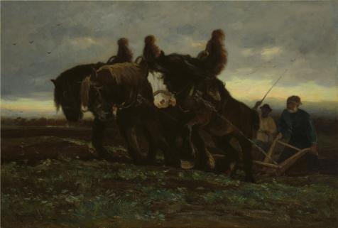 Oil Painting 'Horatio Walker,Ploughing In Acadia,1886', 18 x 27 inch / 46 x 68 cm , on High Definition HD canvas prints is for Gifts And Dining Room, Home Theater And Nursery (Pre Order Lemon)