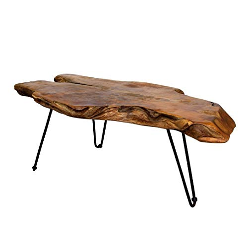 Natural Wood Edge Teak Coffee Cocktail Table with Clear Lacquer Finish ()