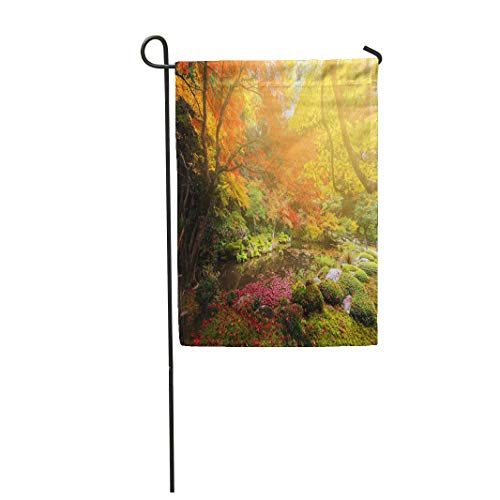 """Tarolo Decoration Flag Colorful Nature Autumn Garden Against Sunset Light at Nanzen Ji Temple Kyoto Japan Green Meditation Thick Fabric Double Sided Home Garden Flag 12"""" W x 18"""" H"""