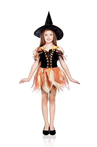 Unusual Halloween Outfits - Kids Girls Evil Witch Costume Sorceress Enchantress Halloween Outfit & Dress Up (8-11 years, Black, Orange)