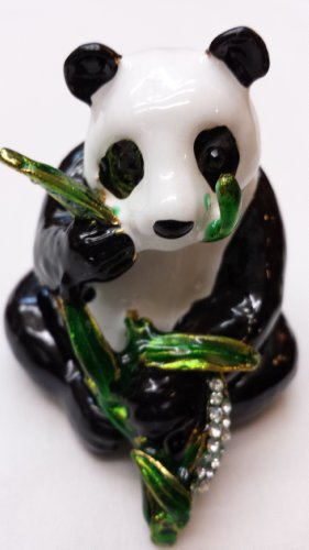 Gorgeous Panda with Bamboo Jewelled Trinket Box Jewelry Box with Inlaid Crystal, Pill Box Figurine