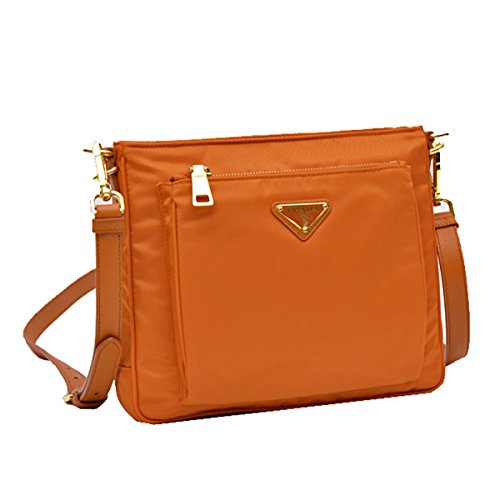 (Prada BT0693 Orange Papaya Tessuto Saffian Nylon and Leather Crossbody Messenger Bag)