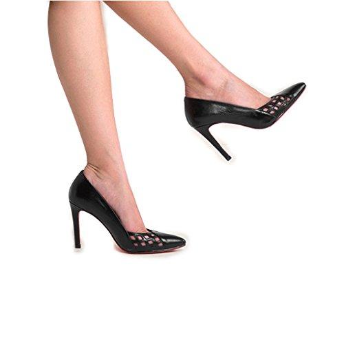 Chaussures Sauvage Simples Avec Profonde Wysm Talon Haut de Bouche Belles 9cm Creux Peu Noir Chaussures Femmes Respirant 0xdSqUwSR