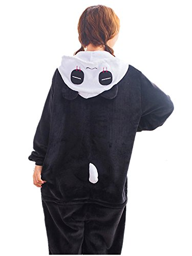 Akanbou Cute Animal Pajamas Onesies Flannel Plush Anime Pajama Cartoon Cosplay Costumes Unisex Adult Warm Sleepwear Halloween Hooded Homewear (M, Panda) ()