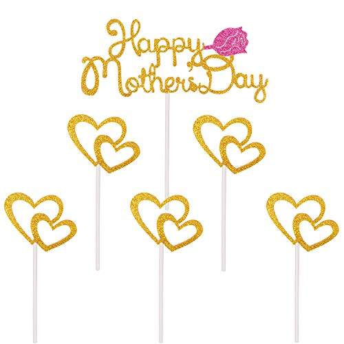 Qibote Mother's Day Cake Topper Cupcake Picks for Mother's Day Cake Decorations Party Supplies