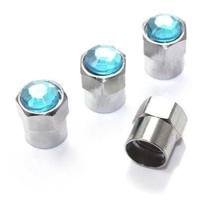 SmallAutoParts Blue Diamond Valve Caps, Set Of 4