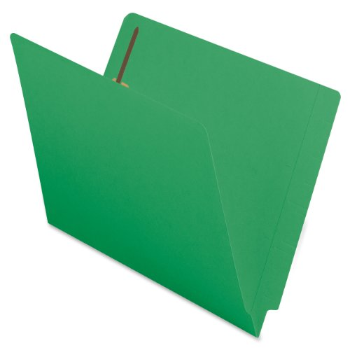 Smead End Tab Fastener File Folder, Shelf-Master® Reinforced Straight-Cut Tab, 2 Fasteners, Letter Size, Green, 50 per Box (25140)